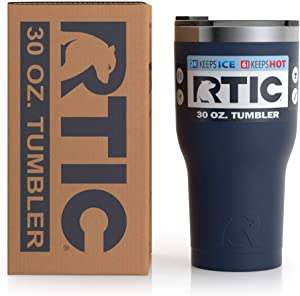 RTIC Insulated Travel Tumbler, Stainless Steel Mug, Hot Or Cold Drinks, with Splash Proof Lid, 30Oz, Navy