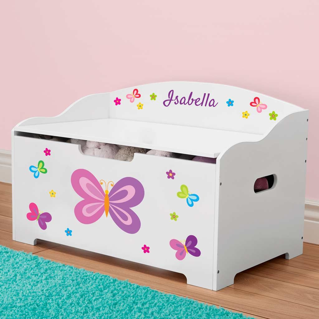 DIBSIES Personalization Station Personalized Modern Expressions Toy Box - White (Butterflies & Flowers) by DIBSIES