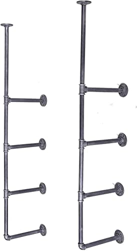 VINTAGELIVING Industrial Floating Pipe Shelf Wall Mounted Rustic Storage Shelves 4-Layer Open Bracket