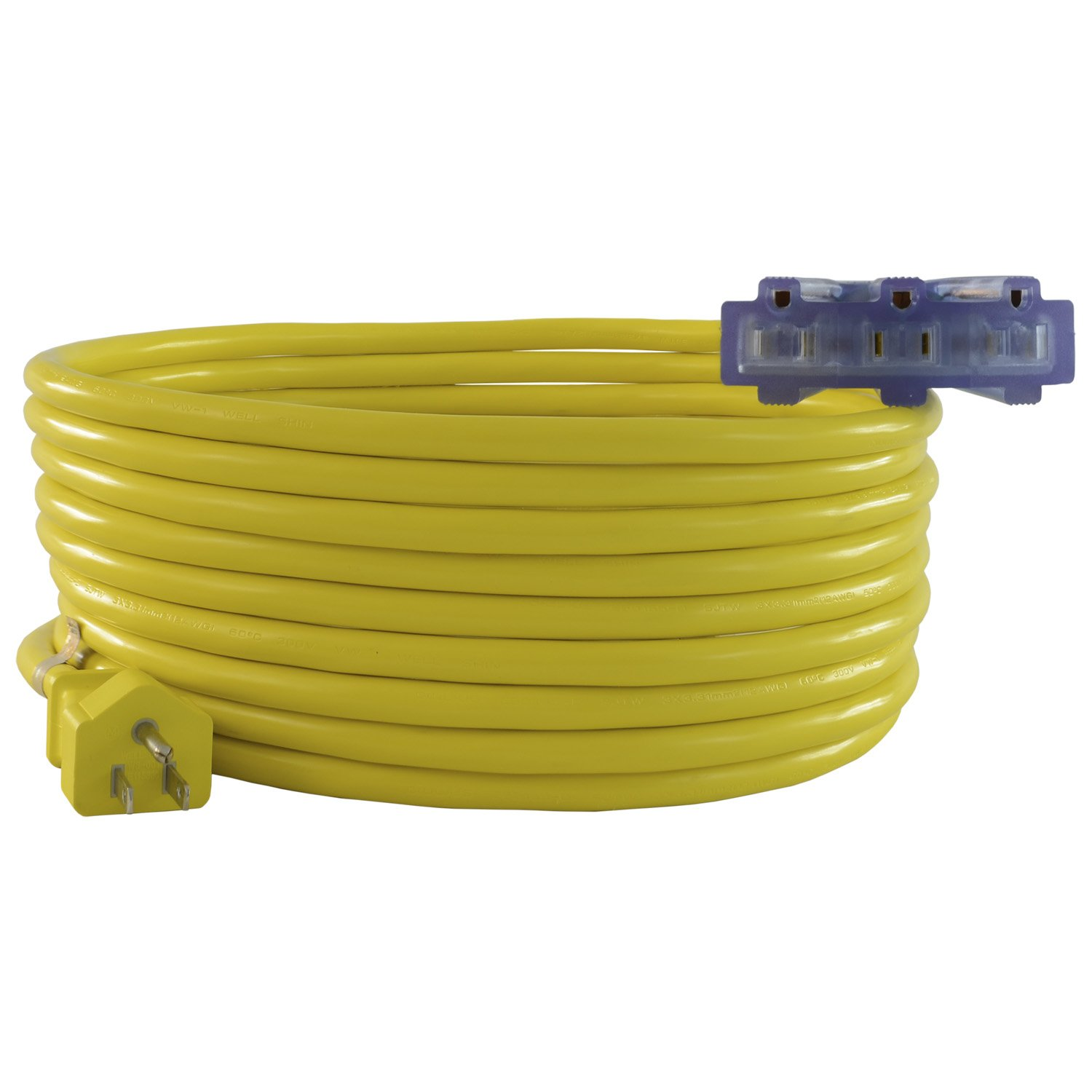 Conntek 20411-050 50-Feet 12/3 U.S 3-Prong Plug to Tri-outlets with Light indicator