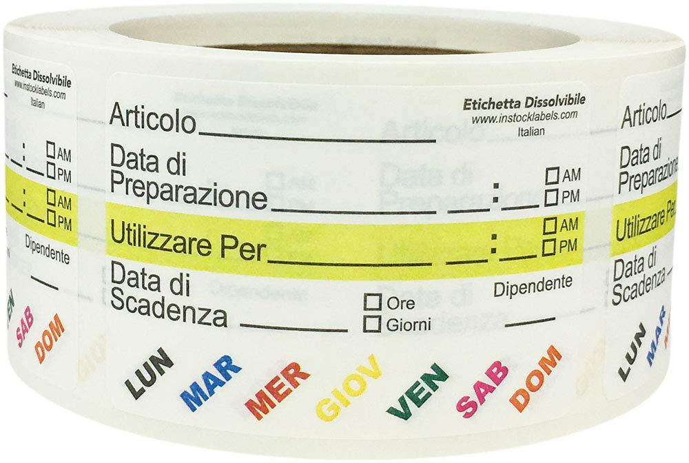 Solubile Vita Alimentare Rotazione Preparazione Utilizzare Per Adesivi con Testo Italiano 51 x 76 mm 2 x 3 cm di Larghezza 500 Etichette su Rotolo