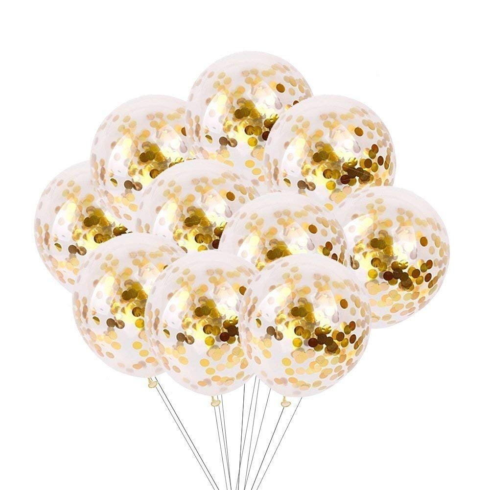 24 Pieces 12 Gold Confetti Balloons with Golden Paper Confetti Dots for Party Decorations Wedding Decorations LongYuan Teck