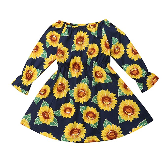 31a77d47f6cfc Yokidi 3M-4T Little Girl Dress Toddler Girl Off Shoudler Sunflower Autumn  Winter Dress