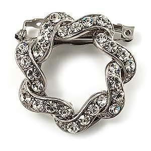 Fotográfica pañuelo-broche/broche con brillantes en el diamante-design (plateado)