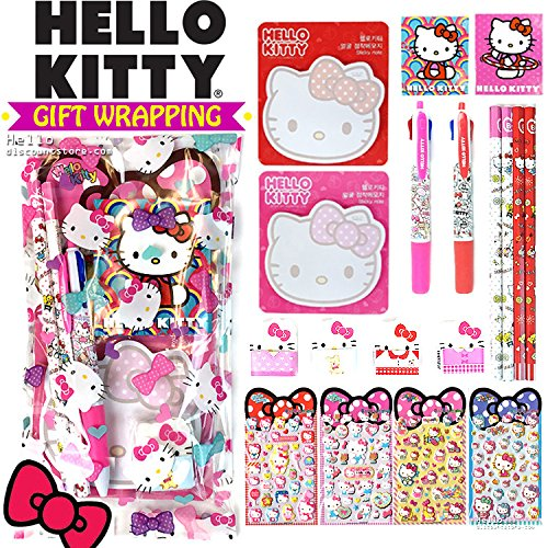 [Gift Wrap] Sanrio Hello Kitty Gift Wrapped School Supplies Stationery Gift Set (8pcs)