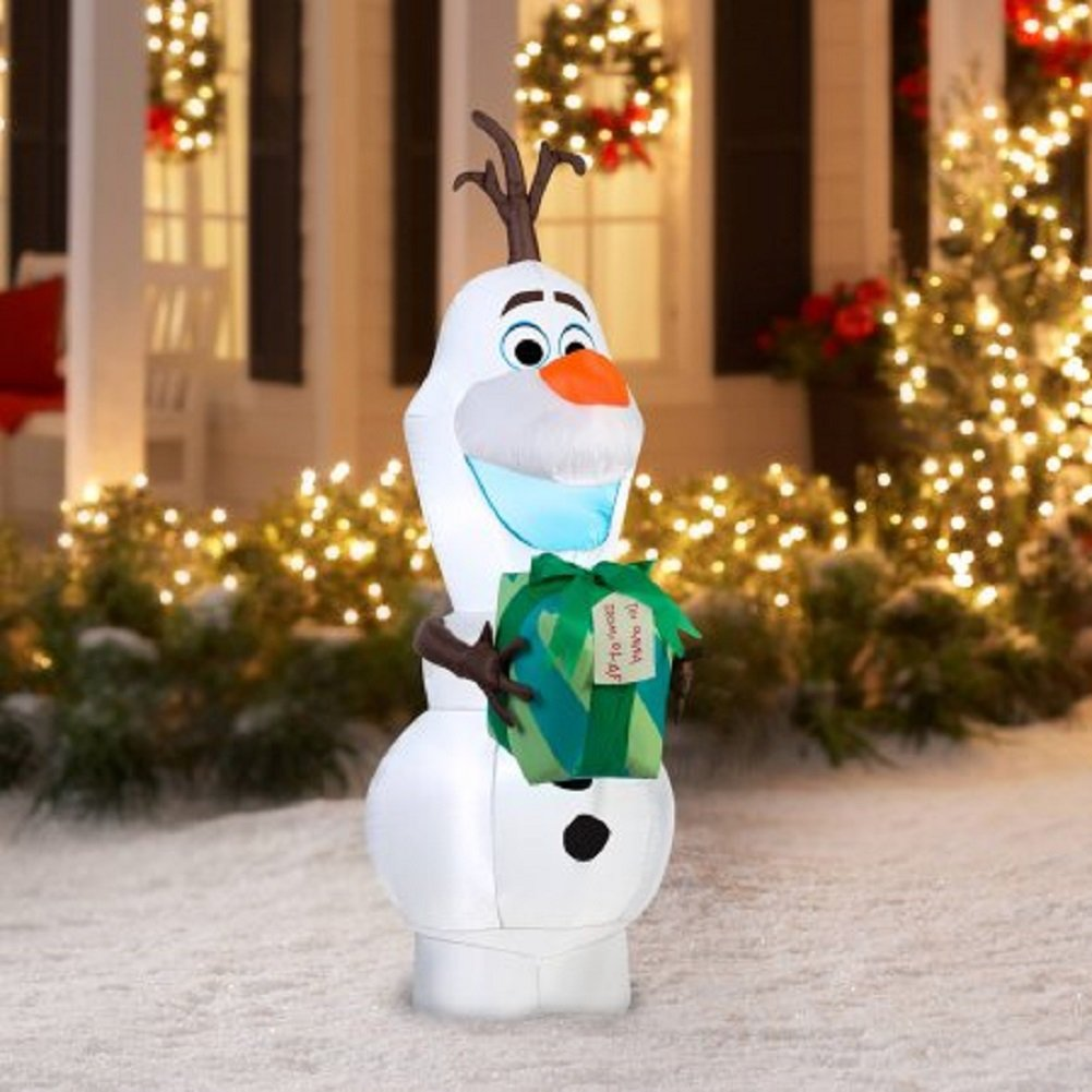 Amazon.com: Christmas Disney Olaf with Gift Airblown Yard Decor ...
