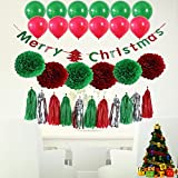 Zlimio Christmas Party Decor Set Kit with Multicolor Bunting Banners Flag Ballon