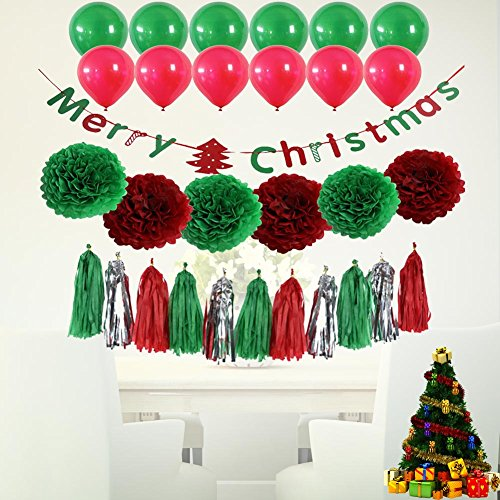 Zlimio Christmas Party Decor Set Kit with Multicolor Bunting Banners Flag Ballon by Zlimio