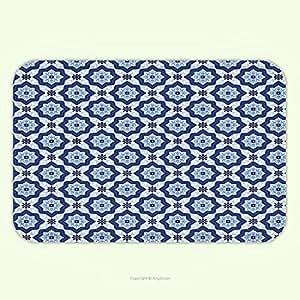angeljuan exterior/interior azul indian Oriental marroquí antiguo azulejos como imagen floral Detalles oscuro azul turquesa y blanco, alfombrillas