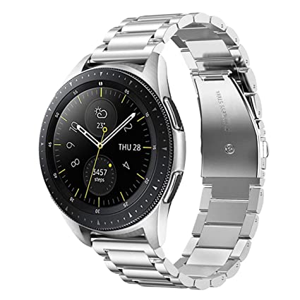 Maxjoy Compatible with Galaxy Watch 42mm Bands, 20mm Soild Stainless Steel Metal Strap with Strong Magnet Replacement for Samsung Galaxy Watch ...