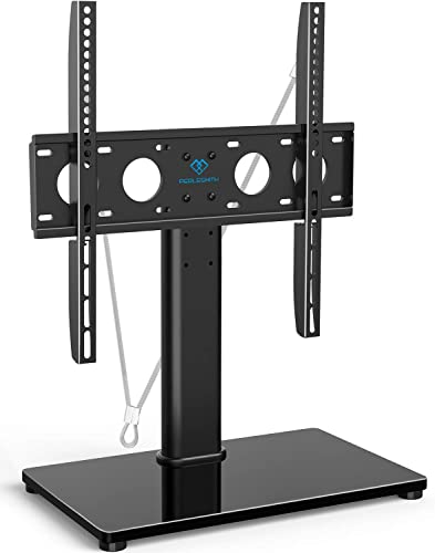 Universal TV Stand – Table Top TV Stand for 32-47 Inch LCD LED TVs – Height Adjustable TV Base Stand with Tempered Glass Base Wire Management Security Wire, Holds Up to 88lbs, VESA 400x400mm