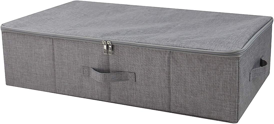 iwill createpro Three-side Zipper Cover Basket, Collapsible Under-bed Storage Box for Blankets,Duvets, Comforters etc. Dark Gray
