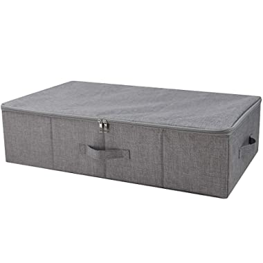 iwill CREATE PRO Under Bed Storage Containers, Underbed Shoe Storage Organizer Box with Lids, Blankets, Cloth Storage Bins. Dark Gray