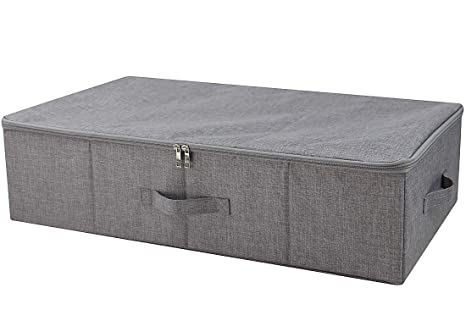 iwill CREATE PRO Three-Side Zip Cover Basket, Collapsible Under-Bed Storage Box for Blankets,Duvets, Comforters etc. Dark Gray, 1pcs