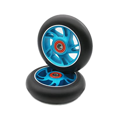 Z-FIRST 2Pcs 100 mm Pro Stunt Scooter Wheels with ABEC 9 Bearings for MGP/Razor/Lucky/Envy/Vokul Pro Scooters Replacement Wheels (Blue) : Sports & Outdoors