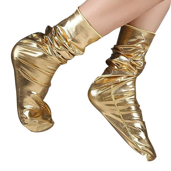 Vectry Mujer Calcetines de Moda Calcetines Brillantes Calcetines Lisos (Free, Dorado)