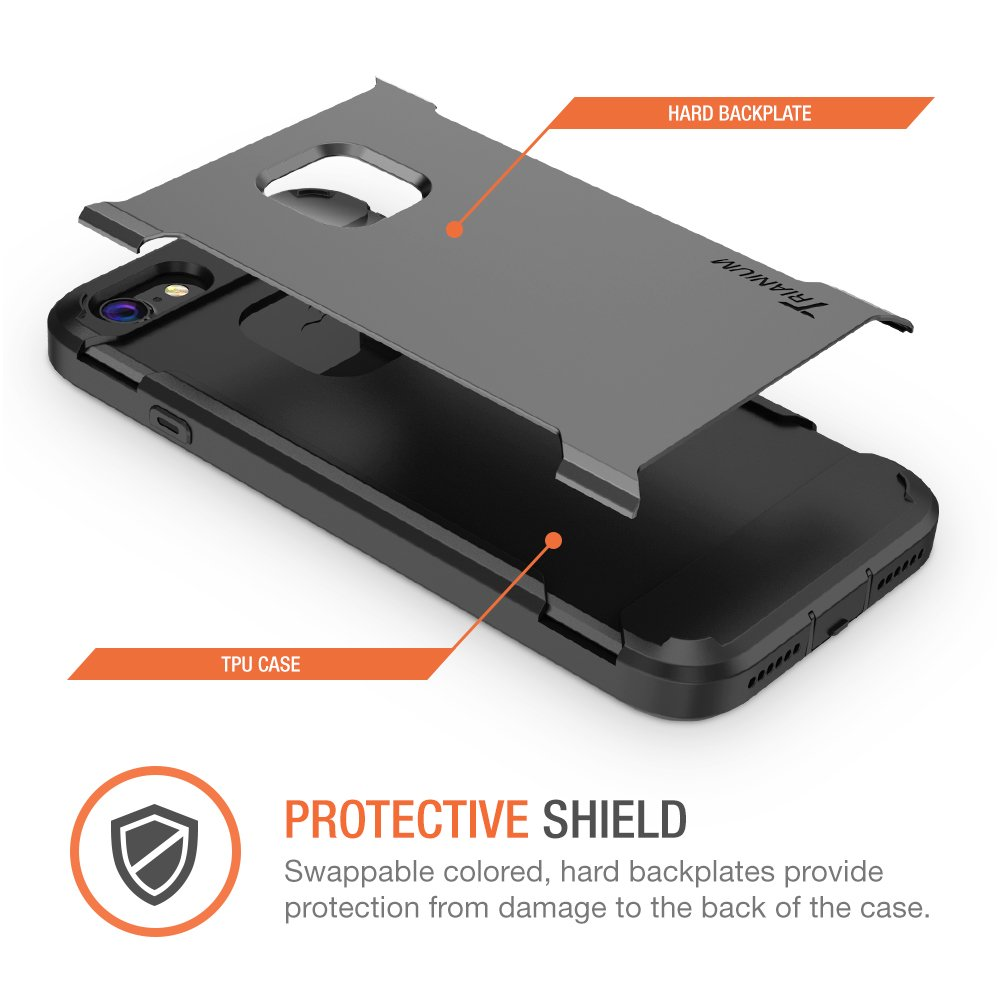 Heavy Duty Ultra Protective Hard Cover Shock Absorption w//Built-in Screen Protector+ Holster Belt Clip Kickstand for Apple iPhone 7 2016 -Gunmetal Duranium Series Trianium iPhone 7 Case TM000181