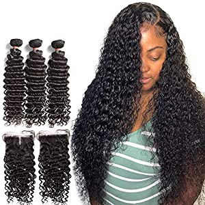 ZJX 28 30 40 Inches Deep Wave Bundles Wig with Closure Brazilian Curly Human Hair Water Wave 3 4 Bundles Weave and Lace…