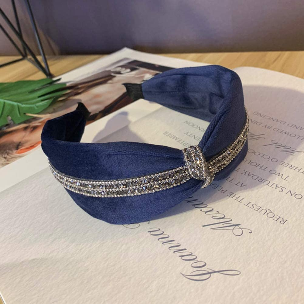 WanBeauty Headband Hairband Vintage Rhinestone Knotted Wide Hair Hoop Accessory Women For Workout GYM Yoga Running Navy Blue