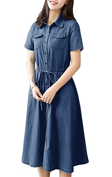 df3fafddccc Women Roll up Short Sleeve Denim Dress Midi Long Dress at Amazon Women s  Clothing store