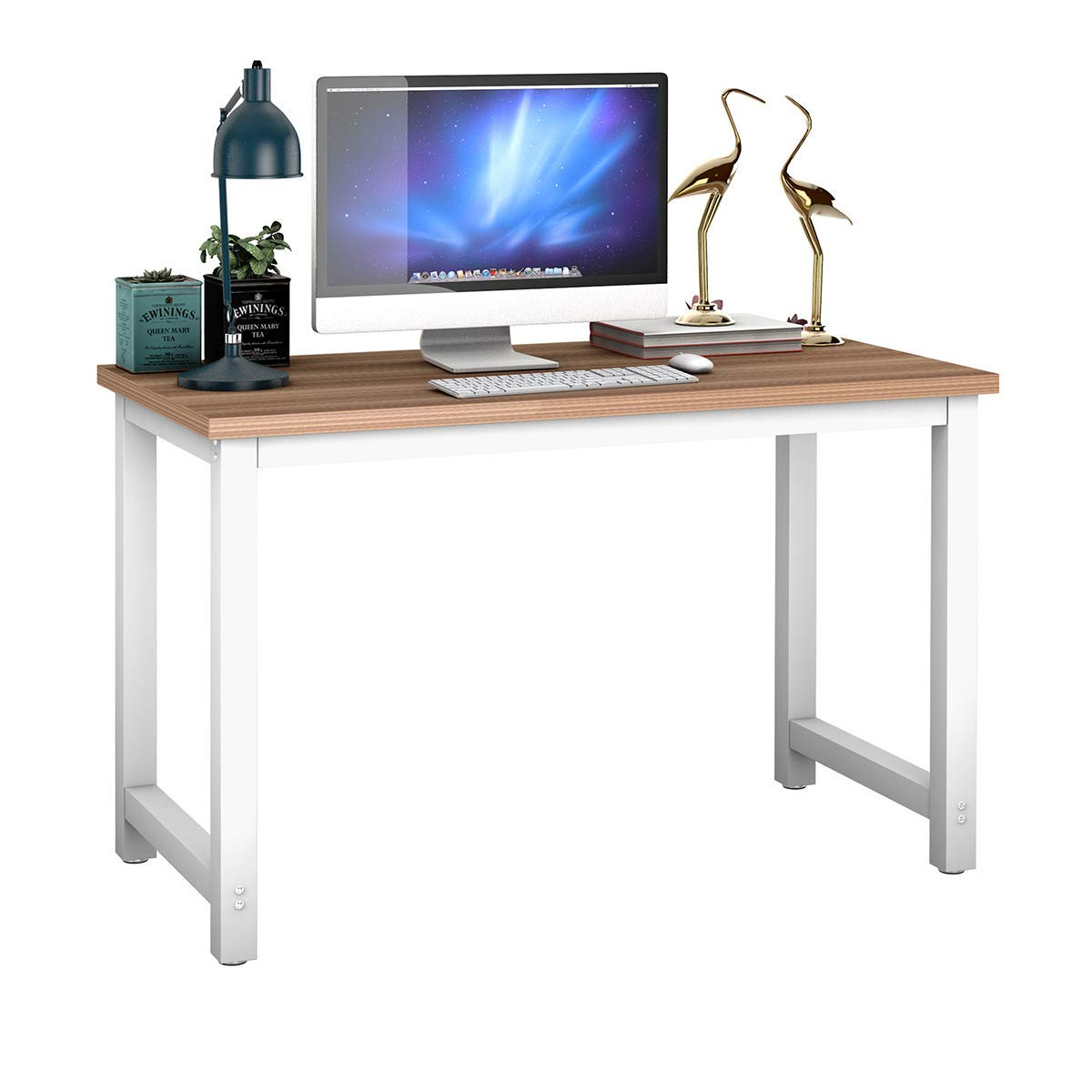 Tangkula 47.5'' Computer Desk Wooden Top Study Construction Portable Modern Design Laptop PC Table Rectangular Writing Table Study Home Office Workstation Furniture (Natural) by Tangkula