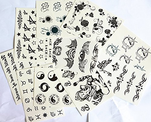 10pcs/package hot selling tattoo sticker stickers various designs including totems/angel wing/angel heart/birds/black roses/sun flowers/Elephant Buddha/Bagua Zhen Figure/Ancient text/English letter/stars/butterflies/etc.