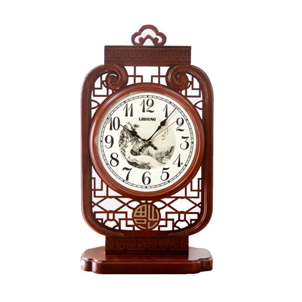 ZAZAZA Health UK Clock- Clock Chinese Wooden Table Clock Living Room Classical Mute Art Sitting Clock Welcome (Size : A)