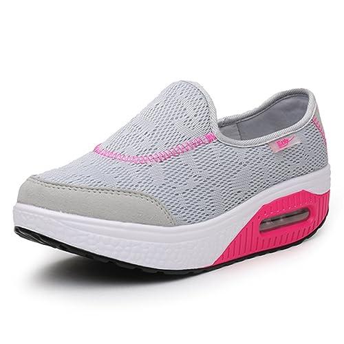 Gracosy Mocasines de Mujer Cuña de Cuero Casual Plataforma Cuña de Zapatillas de Deporte de Gamuza Casual Zapatos Cómodo Mocasines Zapatos de Conducción: ...