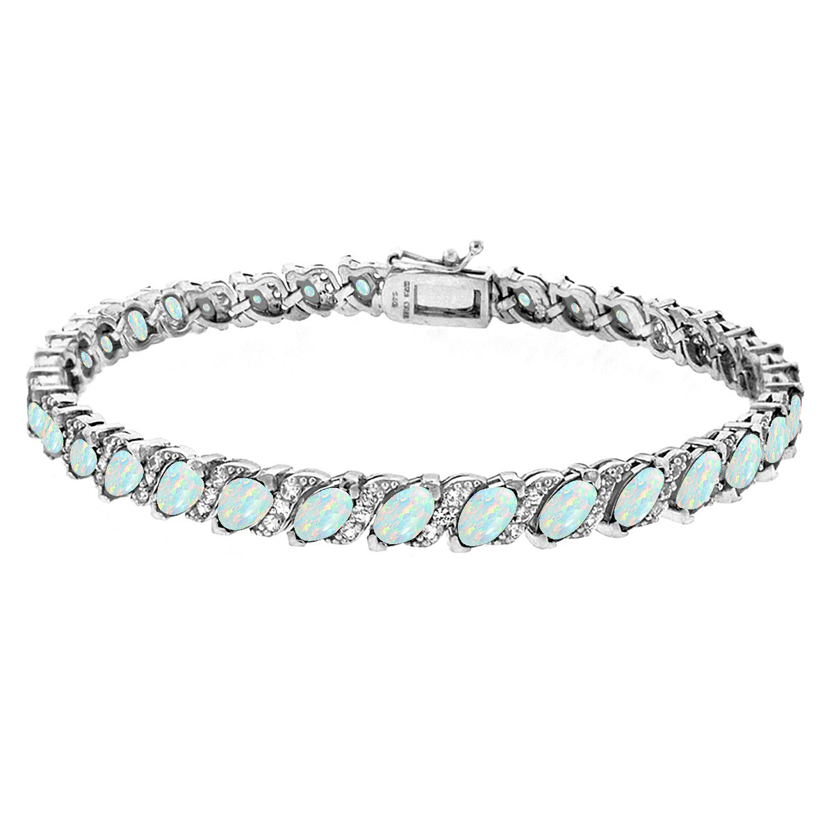 GemStar USA Sterling Silver Simulated White Opal Marquise-cut Tennis Bracelet with White Topaz Accents