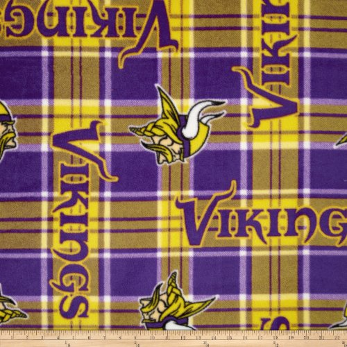 NFL Fleece Minnesota Vikings Plaid Fabric By The (Minnesota Vikings Fabric)