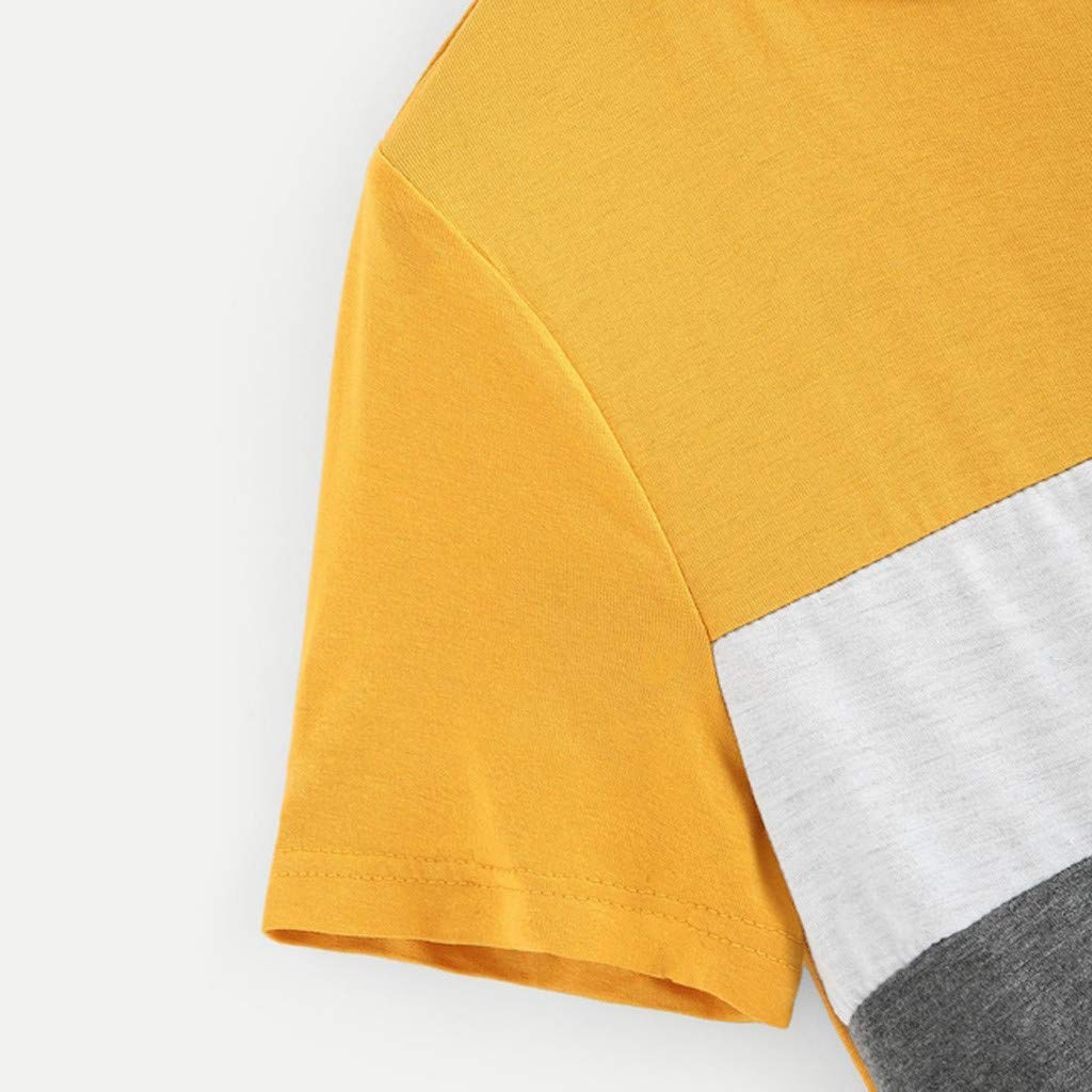 Vectry Moda Mujer Color Block Tops Lentejuelas Bolsillo O-Cuello Camiseta De Manga Corta Tops Casual Tops Elegantes Camisas 2019 Verano Camisas De Mujer