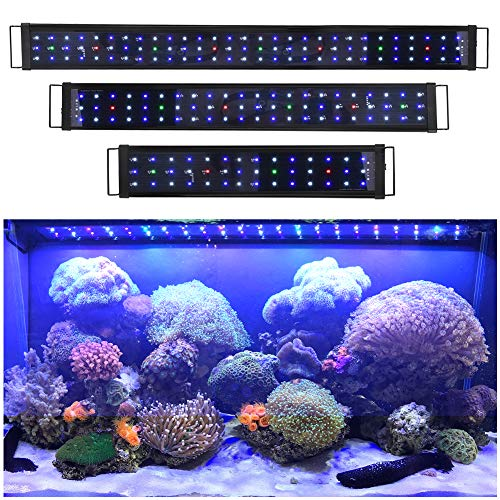 Younar LED Aquarium Light, Fish Tank Light with Extendable Brackets for Freshwater Fish,10w 6500K White and Blue fits 17…