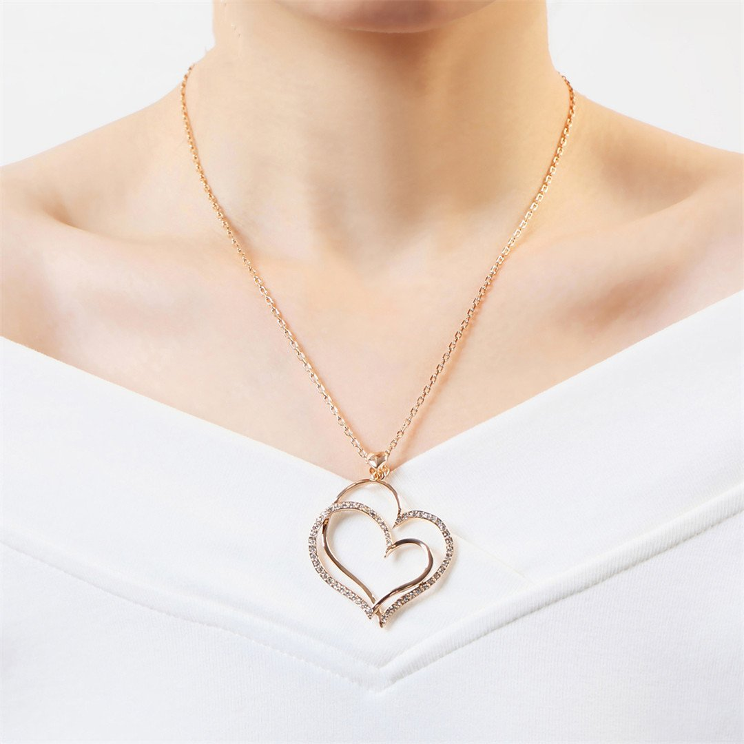 Crystal Rose Gold Color Pendant Necklace Made With Austria Crystal Wholesale ZYN218 ZYN217