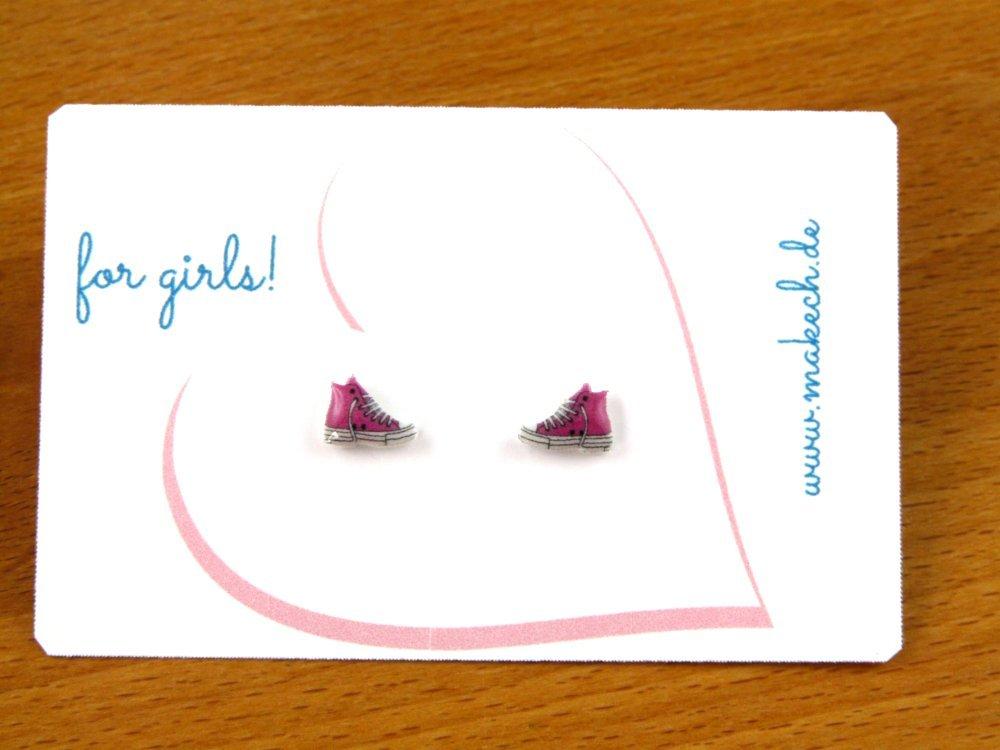 Sneakers Turnschuhe Ohrstecker Ohrringe Blaue oder Rosa Silber 925 ...