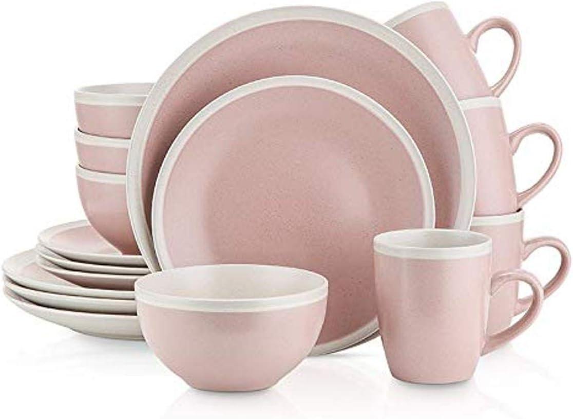 Stone Lain 16-Piece Stoneware Dinnerware, 2-Tone, Speckles, Pink-Cream