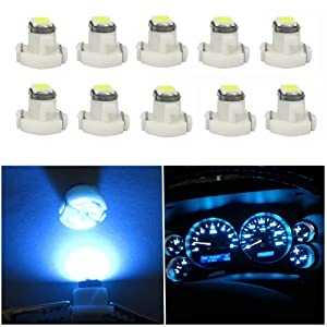 WLJH 10x Ice Blue T3 Neo Wedge Led 3030 SMD Chip 8mm Base Car Dash Instrument Bulb Clock Check Engine Transmission Fasten Seat Belt Hi-Beam Parking Brake Turn Signal Ignition Indicator Lights