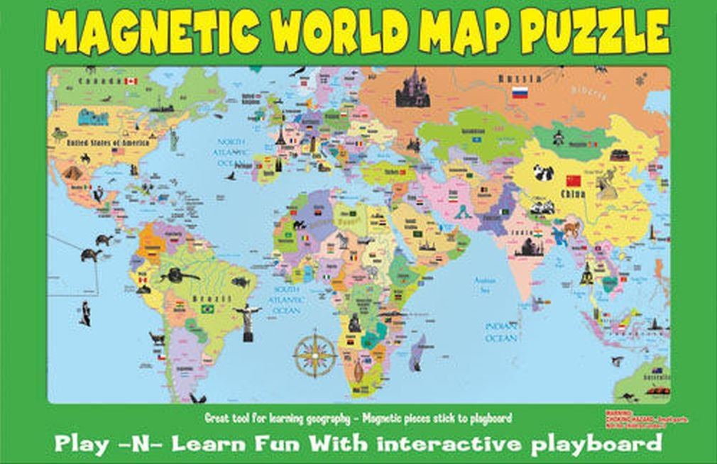 Amazon.com: Ata Boy Magnetic World Map Play n Learn Puzzle Board