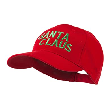 Christmas Hat with Santa Claus Embroidered Cap - Red OSFM at ...