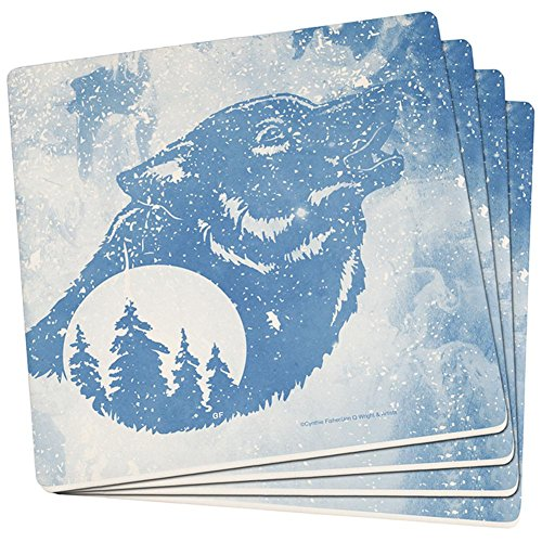 (Distressed Blue Howling Wolf Silhouette Set of 4 Square Sandstone Coasters Multi Standard One Size)