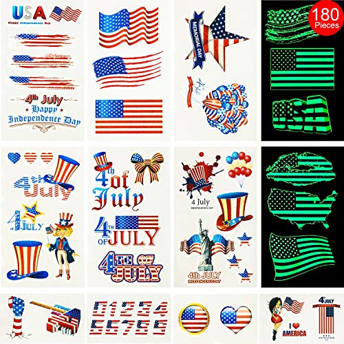 Hicarer Fourth of July Tattoos 180 Pieces 48 Sheets USA Tattoos Patriotic Independence Day Temporary Tattoos Including 24 Pieces Luminous Tattoos for Party Decor Party Supplies for $<!--$9.99-->