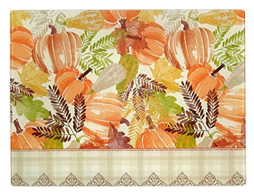 (Northeast Home Goods Tempered Glass Cutting Board, 12-Inch x 15-Inch (Fall Gourds and Pumpkins) )