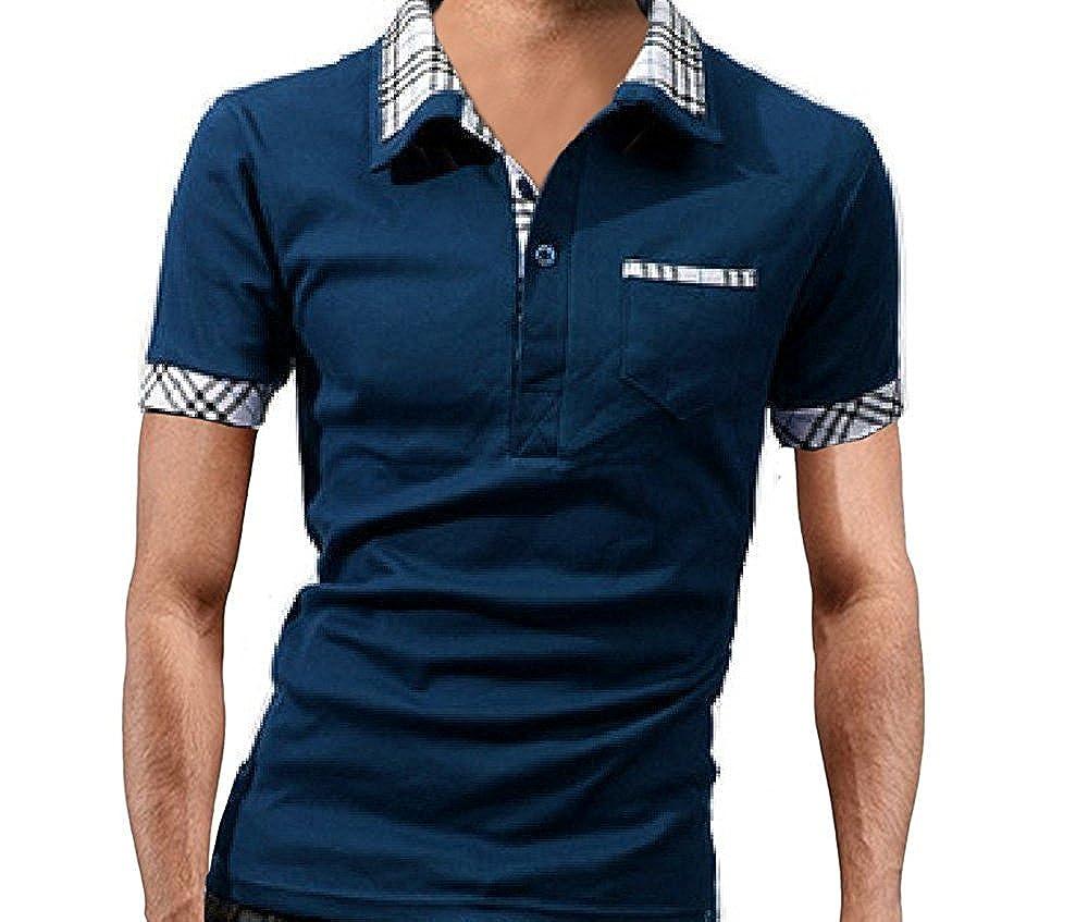 柄 半袖 シャツ ポロシャツ 無地 襟付き 半袖 ゴルフウエア スポーツ クール 重ね着風 速乾 ハーフ メンズ