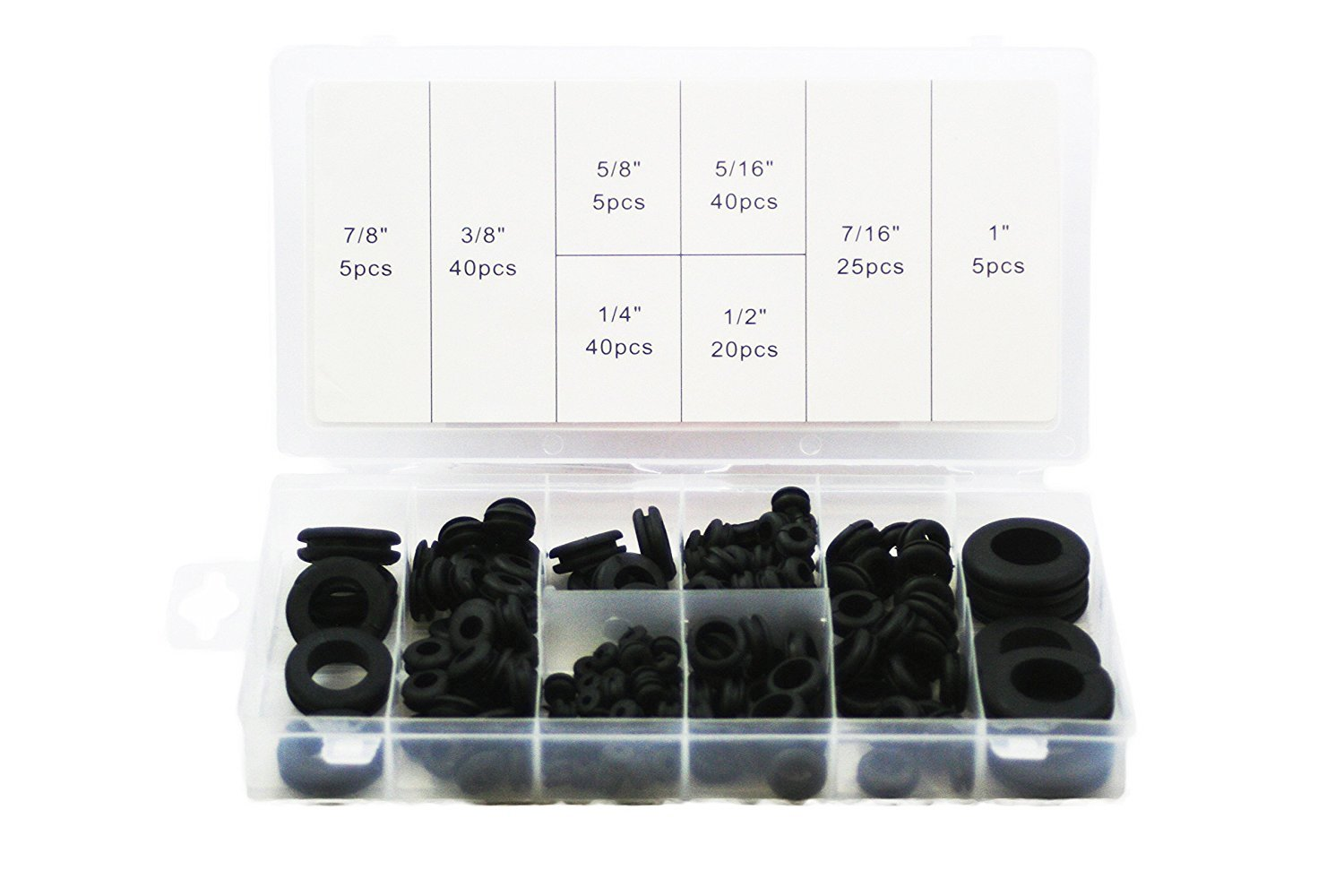 "ABN 180 Piece SAE Rubber Grommet Assortment 7/8"", 5/8"", 5/16"", 7/16"", 3/8"", ¼"", ½"", and 1 Inch Sizes"