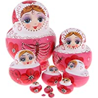 D DOLITY Handmade Russian Nesting Doll Babushka Matryoshka Stacking Dolls 10 Pieces Birthday Gift Christmas Decorations Crafts