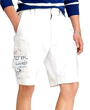 b8d10f4df0 ... australia polo ralph lauren mens twill flap pockets cargo shorts white  30 b7835 f842e