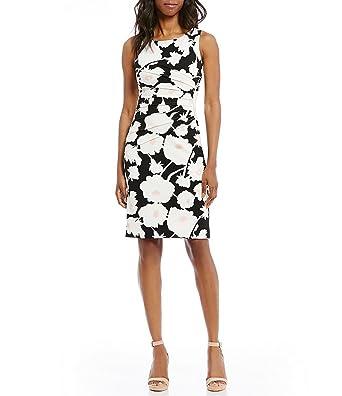ea7d5ab5 Ivanka Trump Women's Floral Print Scuba Crepe Sunburst Pleated Zipper-Trim  Sheath Dress (10