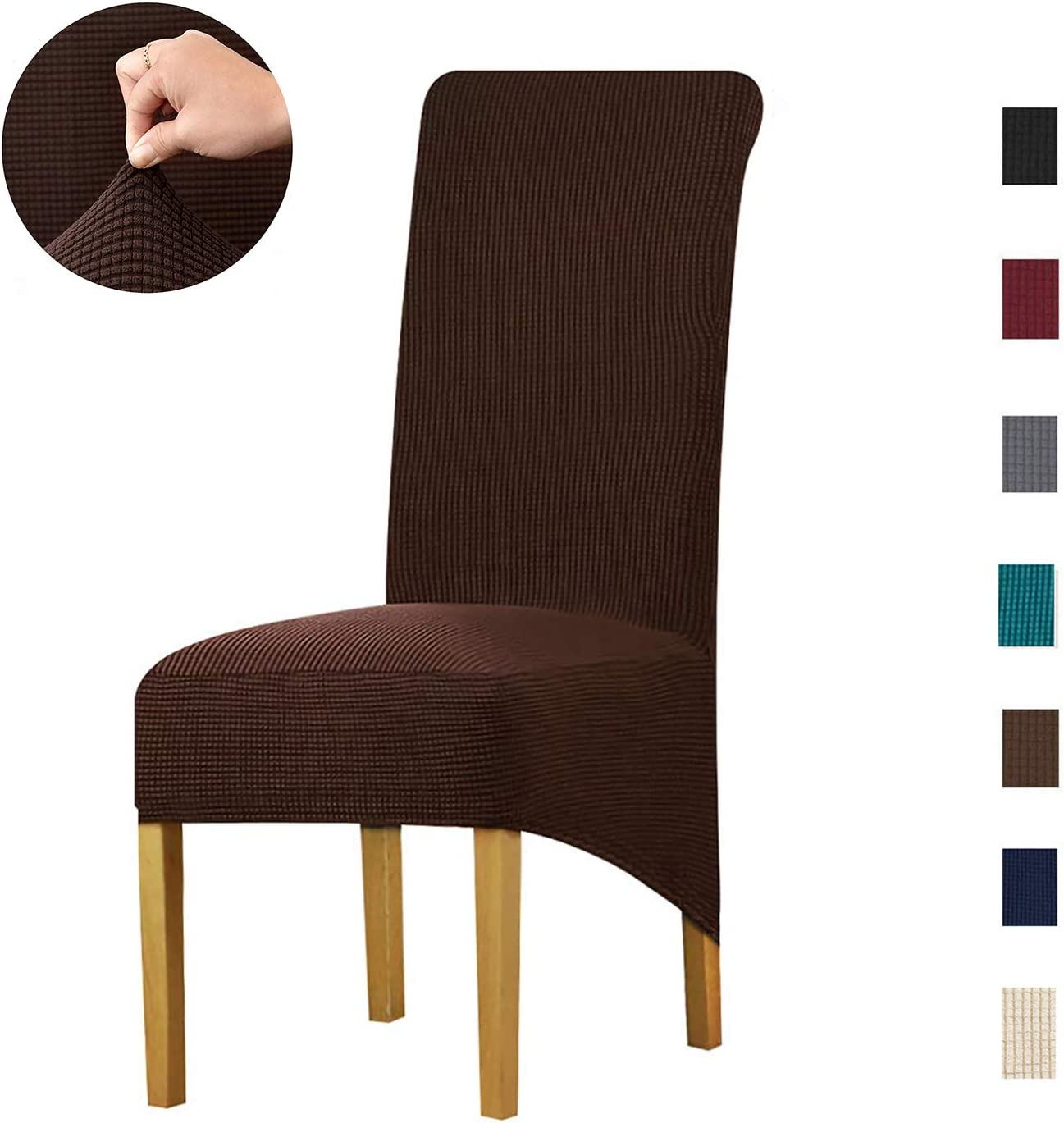 KELUINA Special XL Size Long Back Jacquard Stretch Dining Chair slipcovers - Spandex Plush Short Chair Covers Solid Large Dining Room Chair Protector Home Decor Set of 4(Coffee)