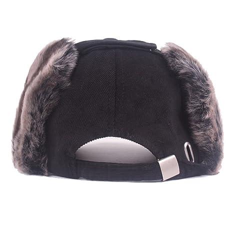 38f31304dee King Star Winter Wool Baseball Cap Earflap Fitted Hats Men Soft Rabbit Fur  Hat Black at Amazon Men s Clothing store