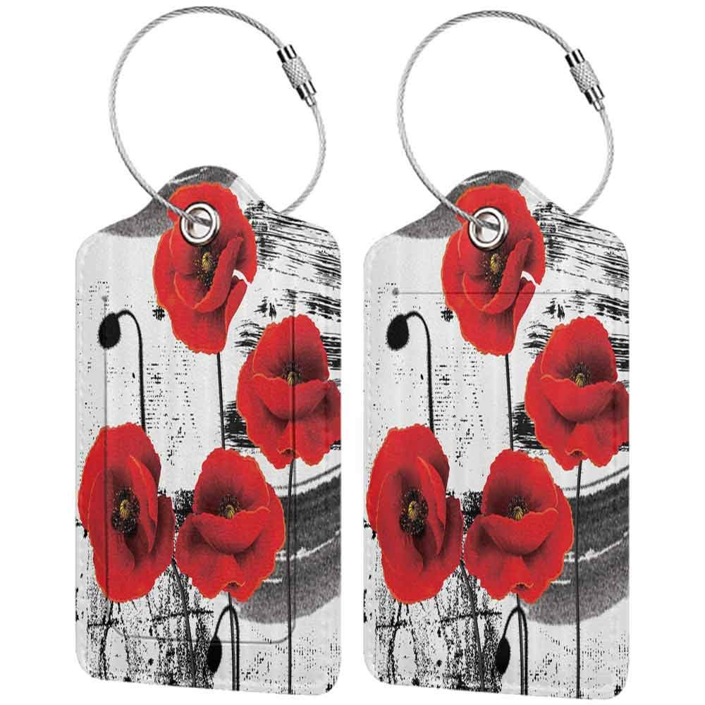 Multicolor luggage tag Floral Classic Decor Flowers Chic Floral Picture Art Design Hanging on the suitcase Black And White Red W2.7 x L4.6