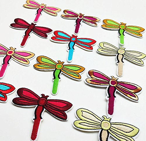 - Dandan DIY 24pcs Multi-Colors Sew-on/Iron-on Patch Applique Dragonfly Clothes Dress Plant Hat Jeans Sewing Flowers Kid Applique Accessory